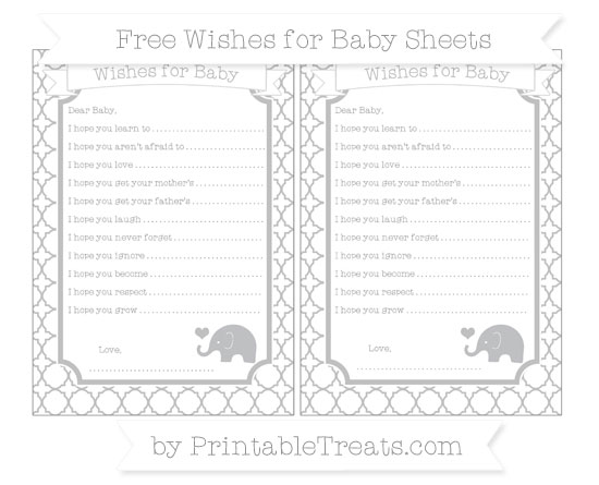Free Silver Quatrefoil Pattern Baby Elephant Wishes for Baby Sheets