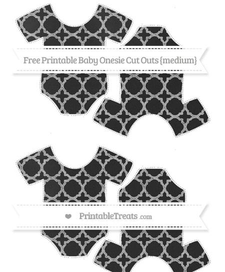 Free Silver Quatrefoil Pattern Chalk Style Medium Baby Onesie Cut Outs