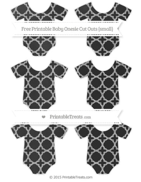 Free Silver Quatrefoil Pattern Chalk Style Small Baby Onesie Cut Outs