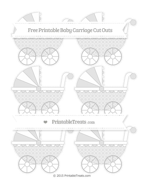 Free Silver Quatrefoil Pattern Small Baby Carriage Cut Outs