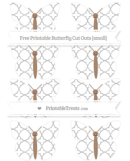 Free Silver Quatrefoil Pattern Small Smiley Butterfly Cut Outs