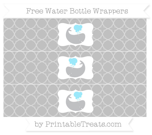 Free Silver Quatrefoil Pattern Whale Water Bottle Wrappers
