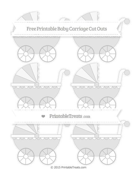 Free Silver Small Baby Carriage Cut Outs