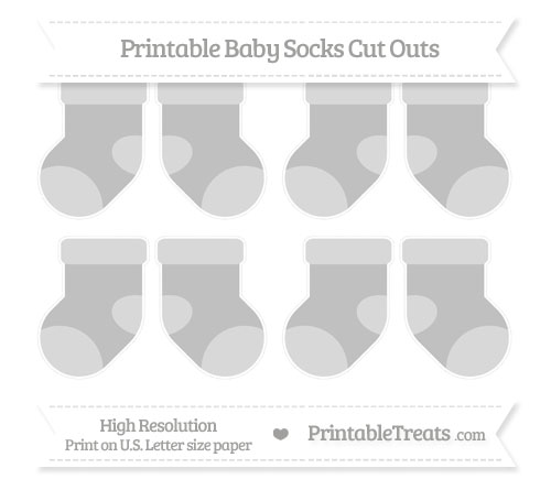 Free Silver Small Baby Socks Cut Outs