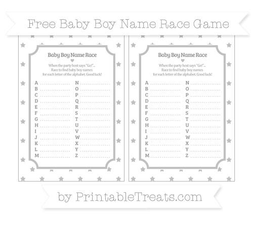 Free Silver Star Pattern Baby Boy Name Race Game