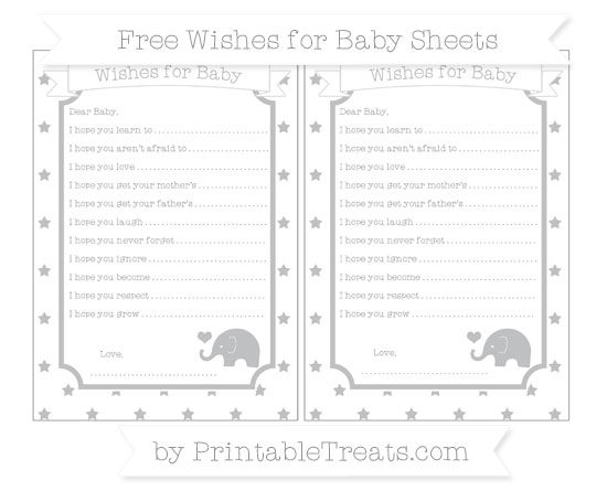 Free Silver Star Pattern Baby Elephant Wishes for Baby Sheets