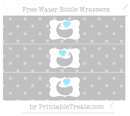 Free Silver Star Pattern Whale Water Bottle Wrappers