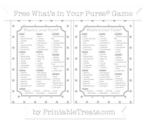 Free Silver Star Pattern What's in Your Purse Baby Shower Game