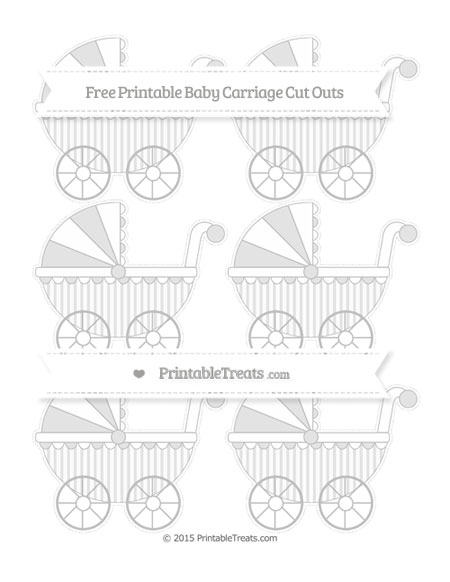 Free Silver Striped Small Baby Carriage Cut Outs