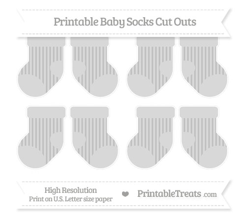 Free Silver Striped Small Baby Socks Cut Outs
