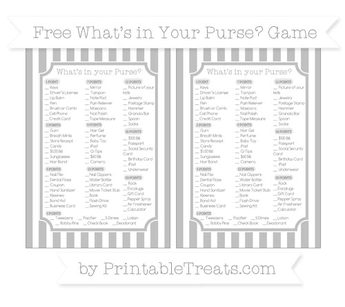 Free Silver Striped What's in Your Purse Baby Shower Game