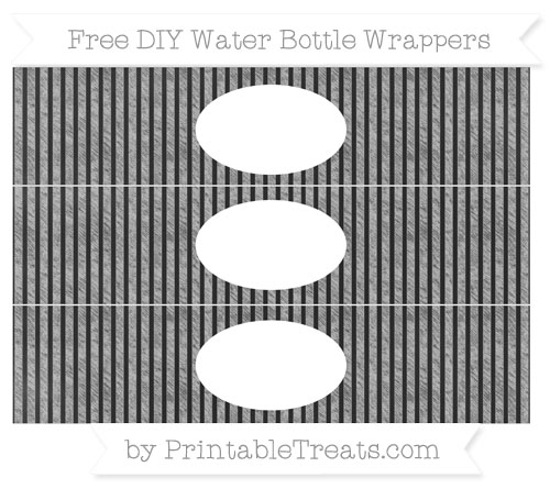 Free Silver Thin Striped Pattern Chalk Style DIY Water Bottle Wrappers