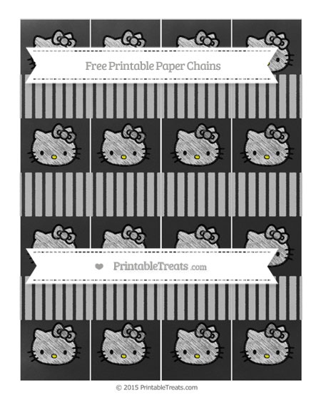 Free Silver Thin Striped Pattern Chalk Style Hello Kitty Paper Chains
