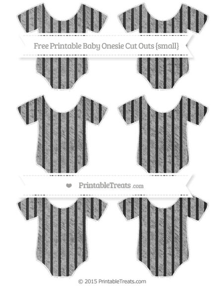 Free Silver Thin Striped Pattern Chalk Style Small Baby Onesie Cut Outs