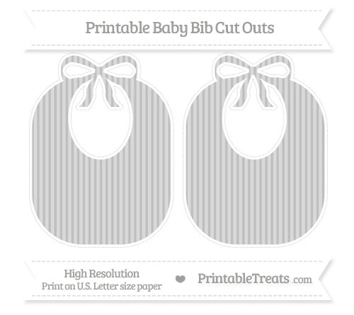 Free Silver Thin Striped Pattern Large Baby Bib Cut Outs