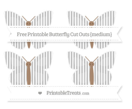 Free Silver Thin Striped Pattern Medium Butterfly Cut Outs
