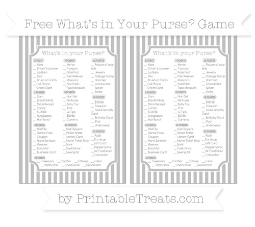 Free Silver Thin Striped Pattern What's in Your Purse Baby Shower Game
