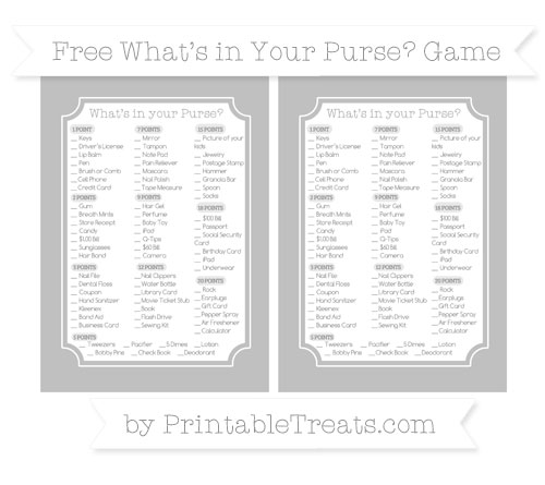 Free Silver What's in Your Purse Baby Shower Game