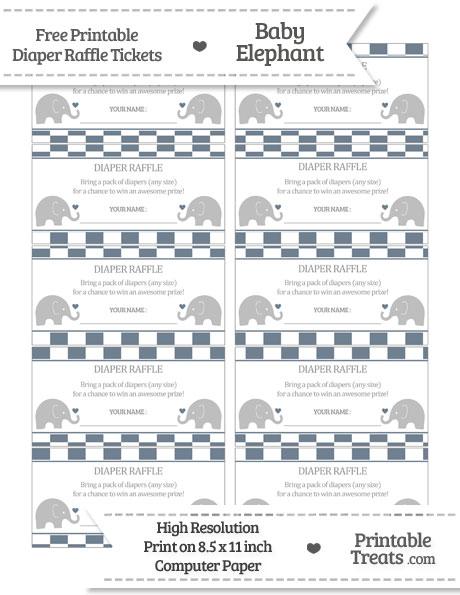 Free Slate Grey Checker Pattern Baby Elephant Diaper Raffle Tickets