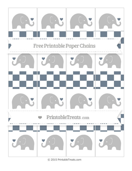 Free Slate Grey Checker Pattern Baby Elephant Paper Chains