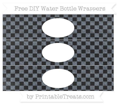 Free Slate Grey Checker Pattern Chalk Style DIY Water Bottle Wrappers