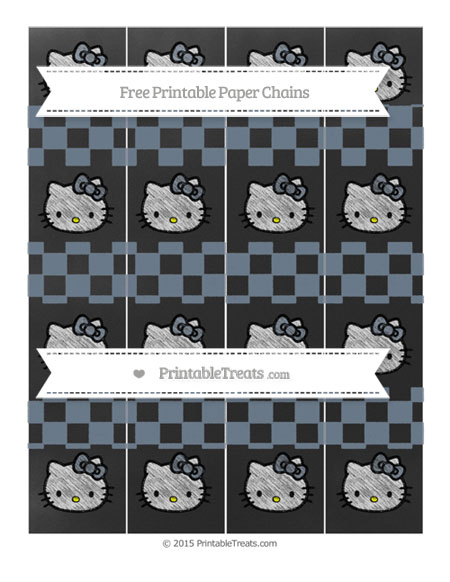 Free Slate Grey Checker Pattern Chalk Style Hello Kitty Paper Chains
