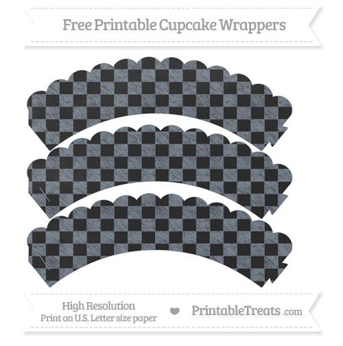Free Slate Grey Checker Pattern Chalk Style Scalloped Cupcake Wrappers