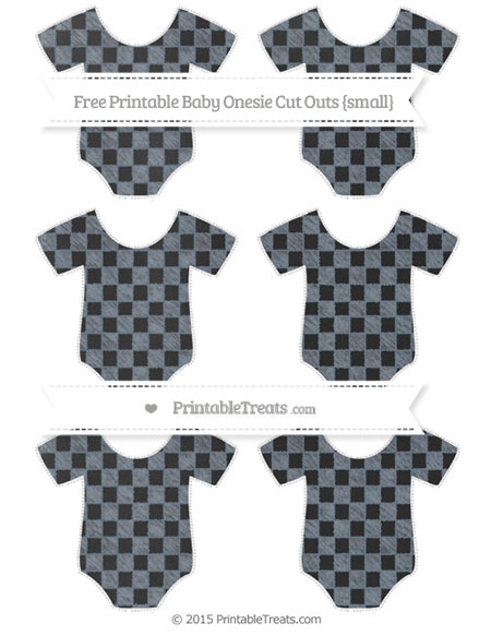 Free Slate Grey Checker Pattern Chalk Style Small Baby Onesie Cut Outs