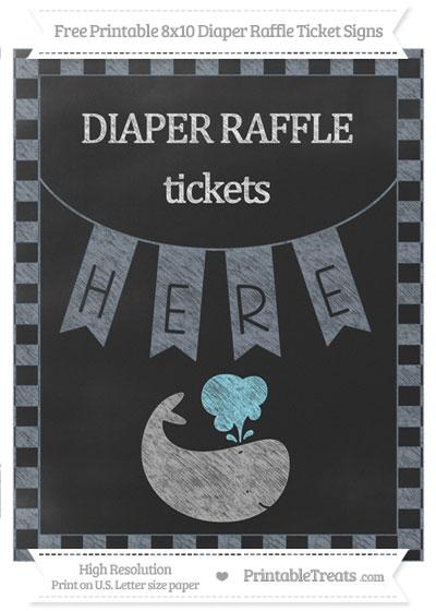 Free Slate Grey Checker Pattern Chalk Style Whale 8x10 Diaper Raffle Ticket Sign