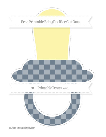 Free Slate Grey Checker Pattern Extra Large Baby Pacifier Cut Outs