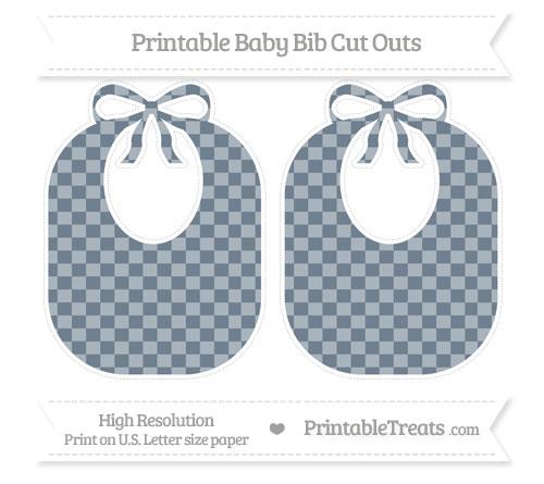 Free Slate Grey Checker Pattern Large Baby Bib Cut Outs
