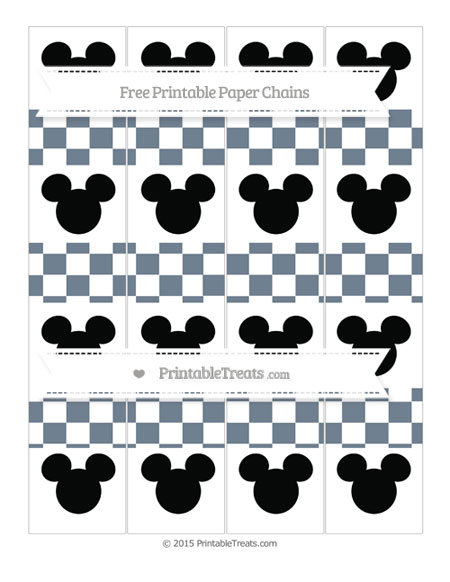 Free Slate Grey Checker Pattern Mickey Mouse Paper Chains