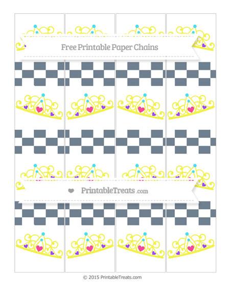 Free Slate Grey Checker Pattern Princess Tiara Paper Chains
