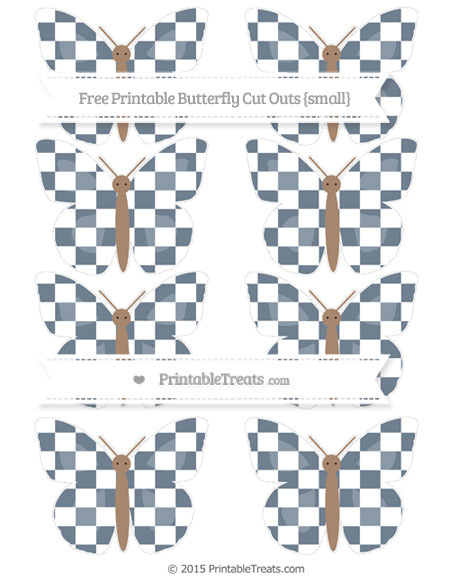 Free Slate Grey Checker Pattern Small Butterfly Cut Outs