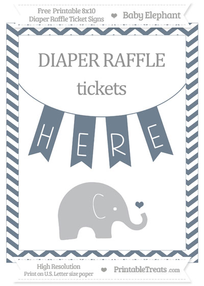 Free Slate Grey Chevron Baby Elephant 8x10 Diaper Raffle Ticket Sign