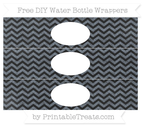 Free Slate Grey Chevron Chalk Style DIY Water Bottle Wrappers