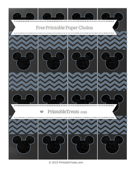 Free Slate Grey Chevron Chalk Style Mickey Mouse Paper Chains