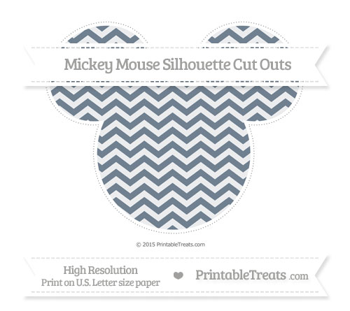 Free Slate Grey Chevron Extra Large Mickey Mouse Silhouette Cut Outs