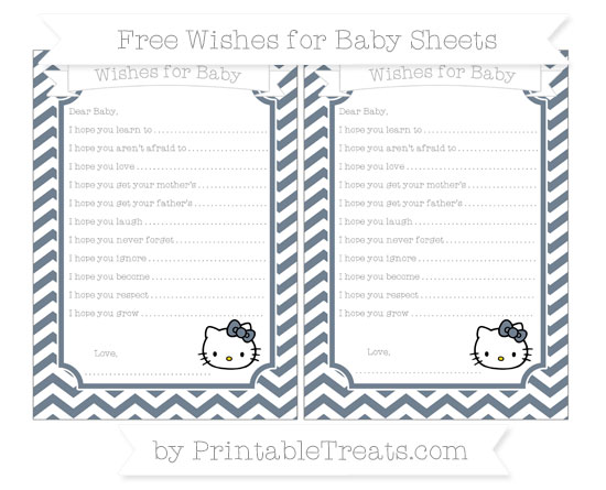Free Slate Grey Chevron Hello Kitty Wishes for Baby Sheets