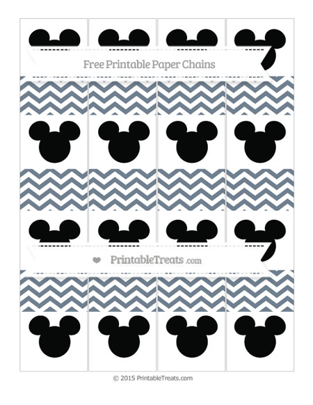 Free Slate Grey Chevron Mickey Mouse Paper Chains