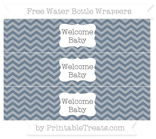 Free Slate Grey Chevron Welcome Baby Water Bottle Wrappers