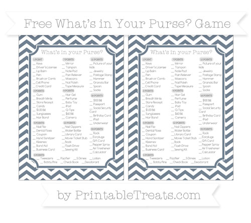 Free Slate Grey Chevron What's in Your Purse Baby Shower Game