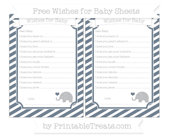 Free Slate Grey Diagonal Striped Baby Elephant Wishes for Baby Sheets