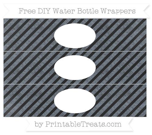 Free Slate Grey Diagonal Striped Chalk Style DIY Water Bottle Wrappers