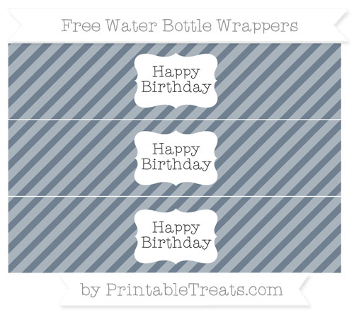 Free Slate Grey Diagonal Striped Happy Birhtday Water Bottle Wrappers