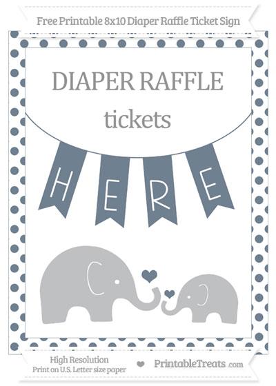 Free Slate Grey Dotted Elephant 8x10 Diaper Raffle Ticket Sign