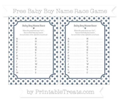 Free Slate Grey Dotted Pattern Baby Boy Name Race Game