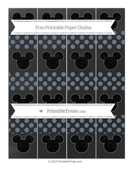 Free Slate Grey Dotted Pattern Chalk Style Mickey Mouse Paper Chains
