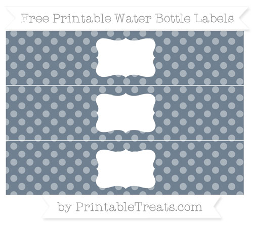 Free Slate Grey Dotted Pattern Water Bottle Labels