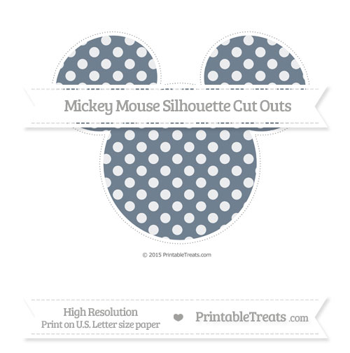 Free Slate Grey Dotted Pattern Extra Large Mickey Mouse Silhouette Cut Outs